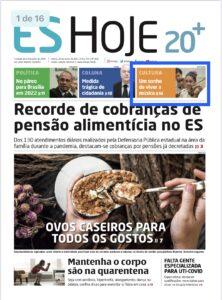 Chamada de capa do Jornal ES Hoje sobre as inscrições para o Projeto Vale Música Serra. 26.03.2021