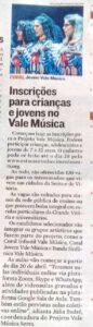Matéria de A Tribuna sobre abertura de inscrições para novos beneficiários do Projeto Vale Música Serra. 11.03.2021