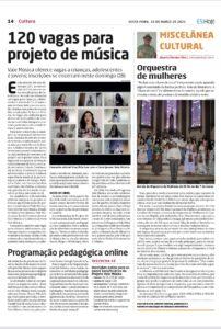Matéria do ES Hoje sobre inscrições para o Projeto Vale Música Serra. 26.03.2021