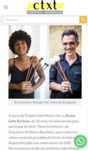 Matéria do Portal Contexto, do Distrito Federal, sobre a Série Duos Sinfônicos, da OSB, com a participação da aluna do Projeto Vale Música Serra, Bruna Leite Barbosa