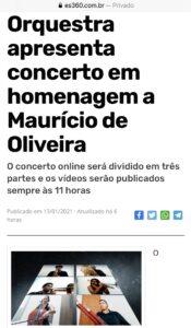 Matéria do Portal ES 360 sobre o Concerto Virtual em homenagem a Maurício de Oliveira. 14.01.2021