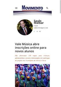 Matéria do Portal Movimento News sobre abertura das inscrições para novos beneficiários do Projeto Vale Música Serra. 14.03.2021