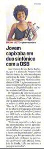 Matéria do jornal A Tribuna sobre a Série Duos Sinfônicos, da OSB, com a participação da aluna do Projeto Vale Música Serra, Bruna Leite Barbosa