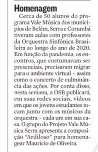 Nota na Coluna Maurício Prates de A Tribuna sobre Concerto Virtual em homenagem a Maurício de Oliveira. 15.01.2021