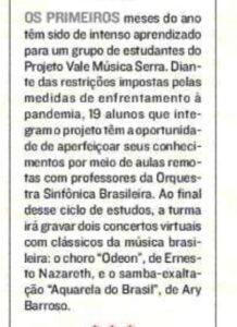 Nota na Coluna Maurício Prates de A Tribuna sobre concertos virtuais dos alunos do Projeto Vale Música Serra com músicos da OSB. 20.03.2021