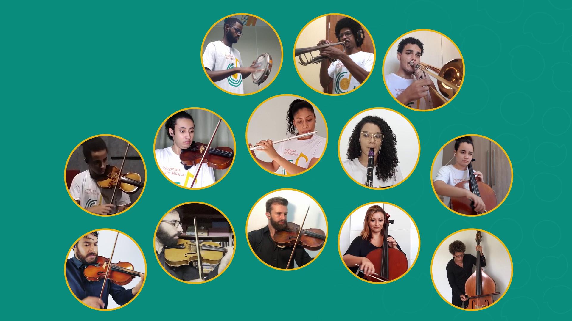 """Alunos do Programa Vale Música e músicos da OSB interpretam """"Aquarela do Brasil"""", em apresentação virtual"""